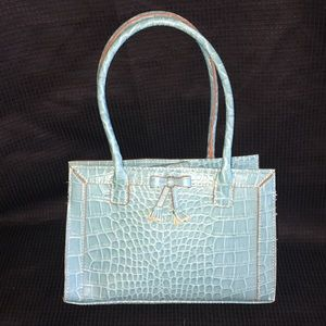 Liz Claiborne Blue Faux Alligator Pattern Purse